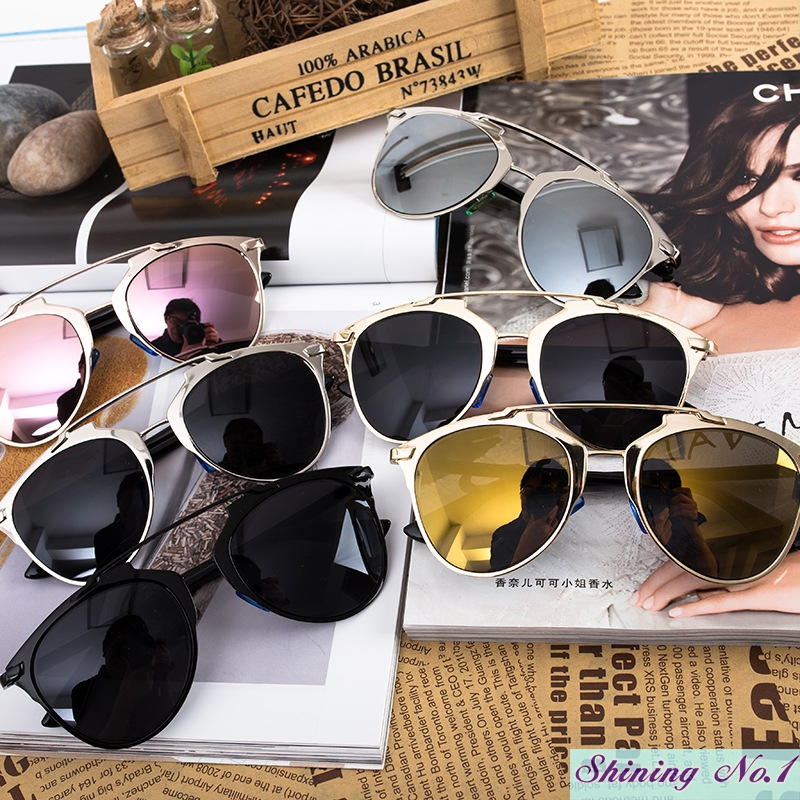 Brand Style High-quality Cat Eye Mirror Sunglasses Bright Alloy Frame Men Women Designer Eyewear Cool Glasses Oculos De Sol H736(China (Mainland))