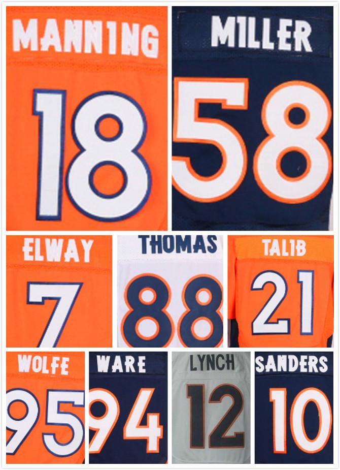 Genäht 18 Peyton Manning 58 Von Miller Jersey 7 John Elway 12 Paxton Lynch 10 Emmanuel Sanders 94 Demarcus ware Elite Trikots(China (Mainland))