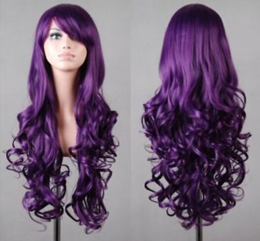free shipping Wig charming Long Dark Purple Hair Curly Cosplay wigs(China (Mainland))