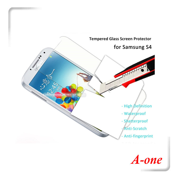 2015 Super Hot Wholesaler Tempered Glass Screen Protector Mobile Phone Accessory Protector Film Glass Protector for Samsung S4(China (Mainland))