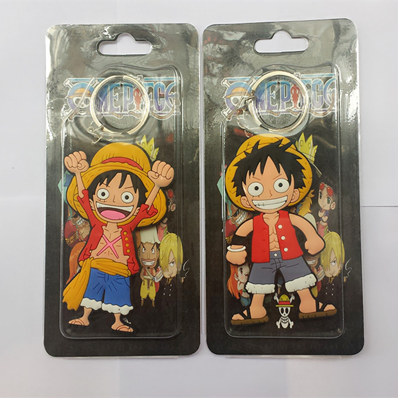 Wholesale Anime Cartoon Cute Kawaii One Piece Luffy keychain Action Figure Toys double-sided Silicone PVC keychain(China (Mainland))