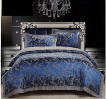 Royal Blue Luxury Duvet Cover Sets 4PC 50% Cotton 50% Satin Bed Sheet Set Jacquard Bedding Set Full/Queen/King Size FreeShipping(China (Mainland))