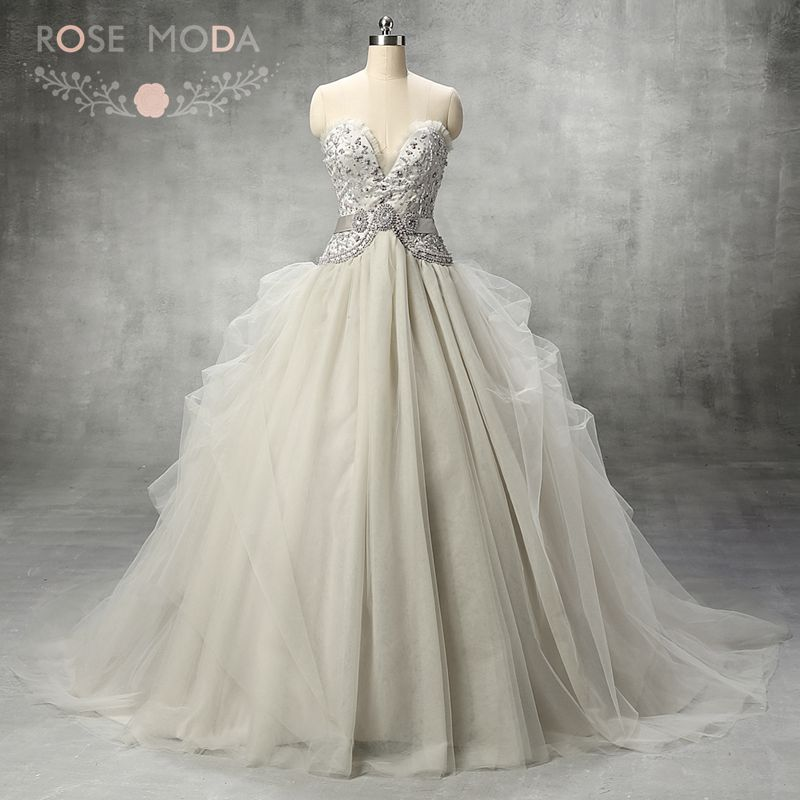 Luxury illusion deep sweetheart neck silver grey tulle for Silver beaded wedding dress