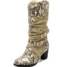 Mujeres hombres invierno nieve Botas señora de Western Cowboy Boots serpiente imprimir mediados ternero Botas zapatos de nieve mujeres Botas Mujer Botas de piel(China (Mainland))