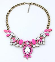 Vogue Jewelry Fashion 6 colors Brand Flower Choker Luxury Fashion Rhinestone Necklace For Women 2015 Newest
