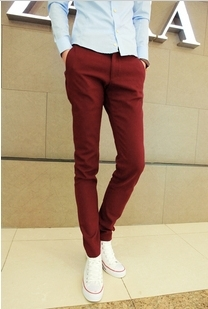 Korean-style-Slim-Fit-Fashion-Trousers-Men-dress-pants-colorful-cotton-blend-wine-red-beige-black.jpg