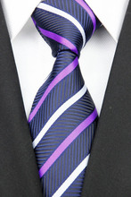 NT0135 Navy Purple Stripe Smooth Man s Wedding Business Luxury Tie Jacquard Woven Classic Silk Polyester