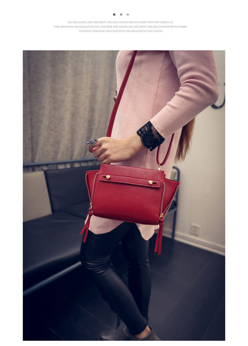 2016 New Fashion Side Zippers Bag Women Solid Color Simple Shoulder Bag Occident Style Ladies All-match Small Crossbody Bag