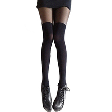 Sexy Black Gipsy Mock Ribbed Over the Knee High Pantyhose Hose Stockings Women Retail/Wholesale
