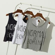 2016 Summer women tank tops NORMAL IS BORING letter print casual loose Sports sleeveless vest women crop tops midriff tops(China (Mainland))
