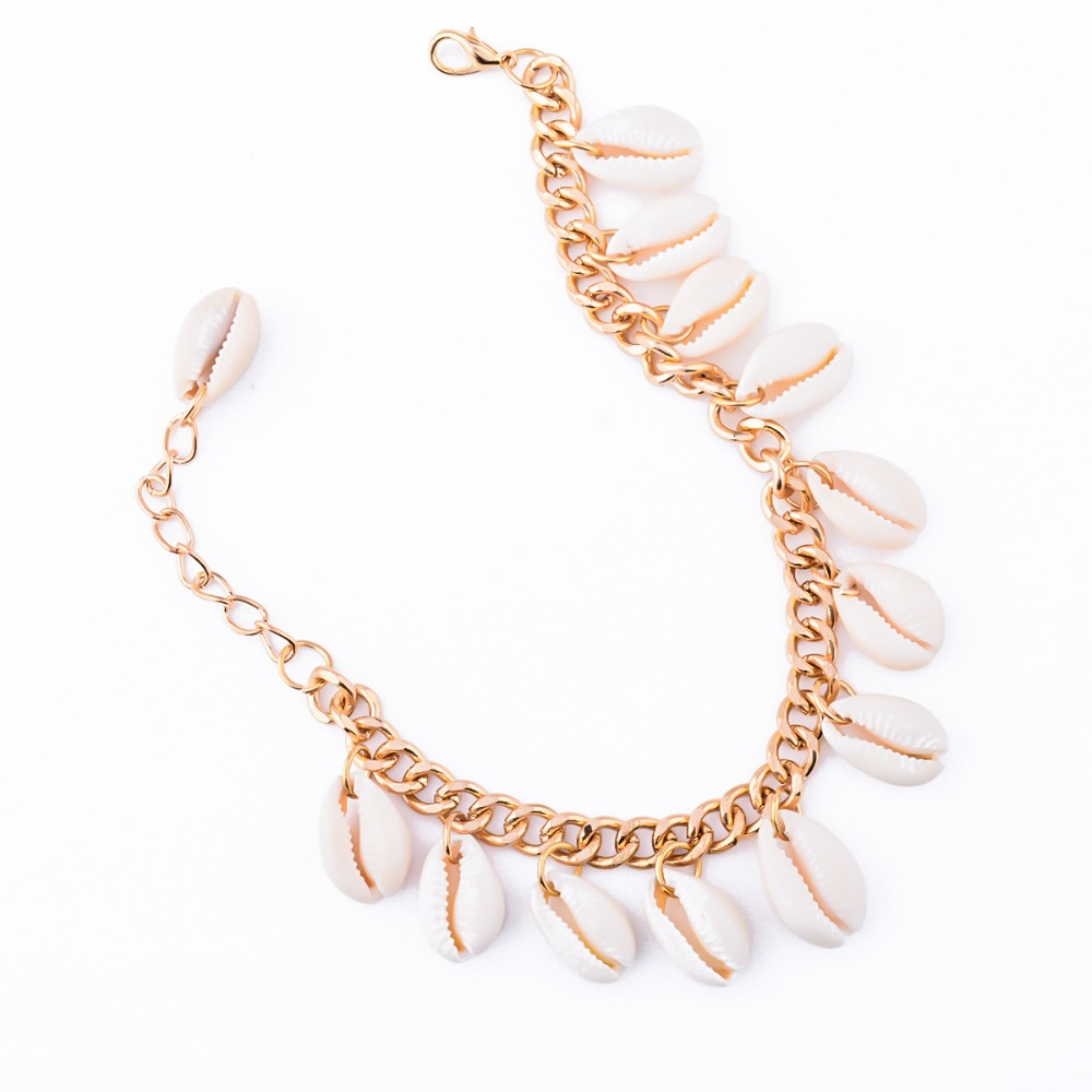 New Style Sweet Natural Shells Link Chain Beads Bracelet Gold Cute For Hand Charm Bracelets Birthday gift For Women Wholesale(China (Mainland))