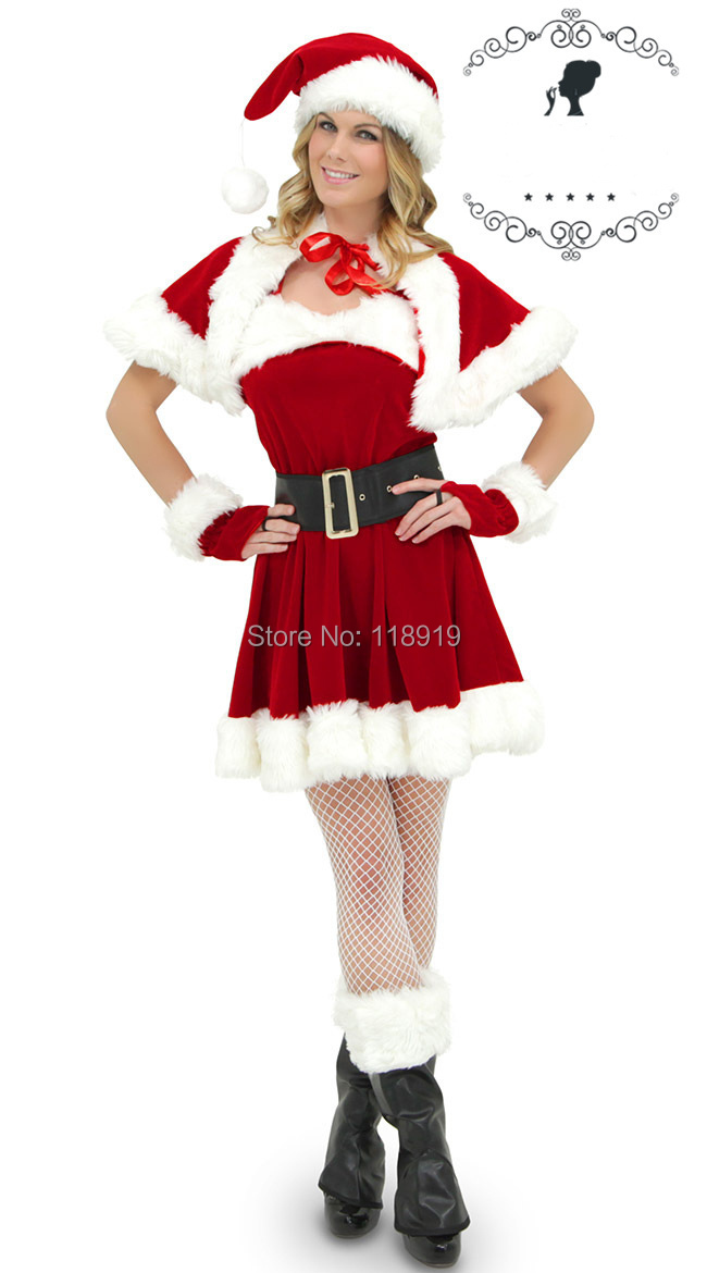 2014 New Womens Sexy Red Christmas Xmas Holiday Party Mrs Miss Santa Claus Costumes Outfits Fancy Dress Size M With Hat Gloves(China (Mainland))