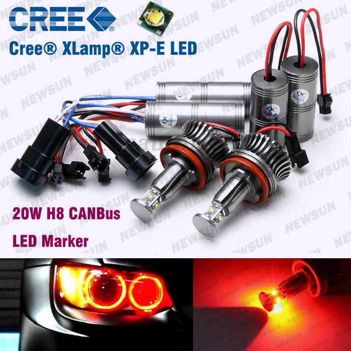 Фотография Free shipping auto LED Angel Eyes Marker C REE Bulbs H8 20W Kit for BMW X5 E87E82 E70 E71 E90 E60 E61 E63 E64 Red halo light kit