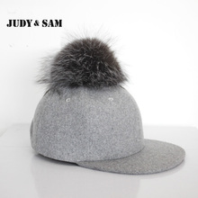 Buy Vintage Grey Snapback Polo Cap Round Fluffy Silver Fox Fur Pom Pom Baseball Hats Men Adjustable Gorra Fitted Hats for $13.87 in AliExpress store