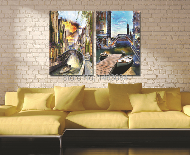 Free Shipping 2 Pieces Wall Art Set Art Pictures Venice Scenery Oil
