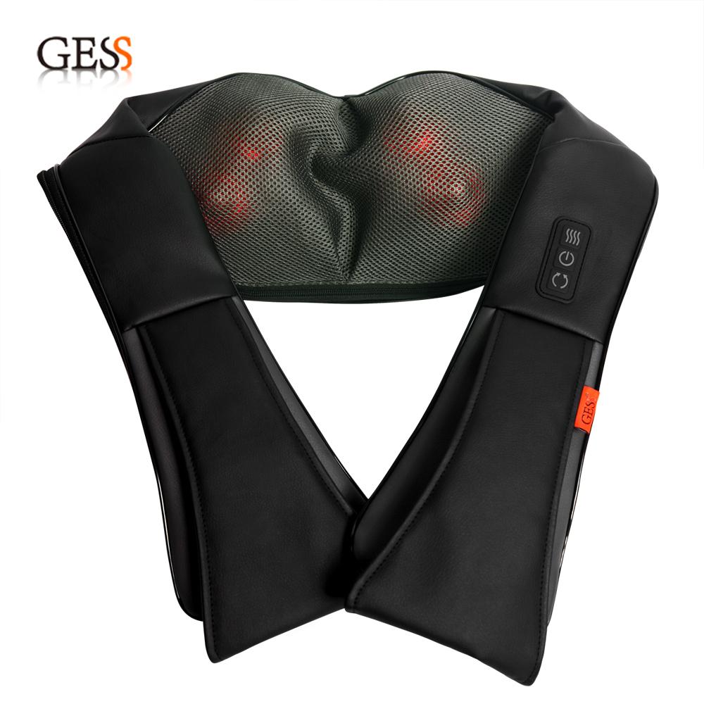 GESS Shiatsu Neck Massager Heat Clearance work massage black massager110V & 220V massageador GESS012(China (Mainland))