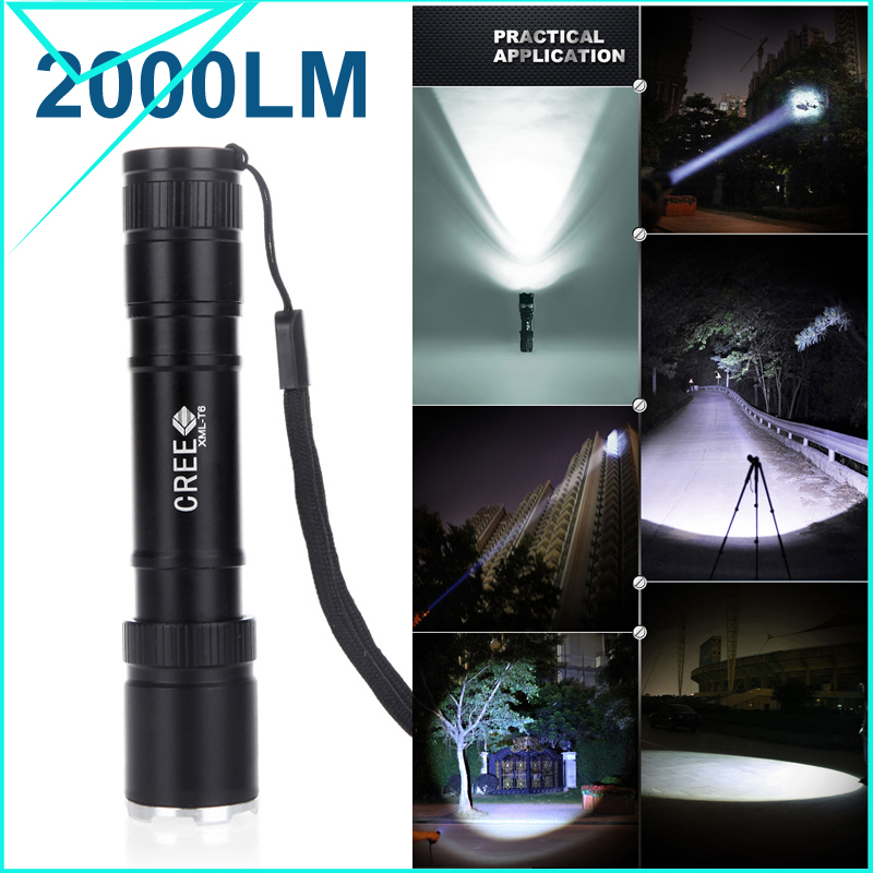 super deal 2000Lumens CREE XML-T6 LED Flashlight Adjustable Focus Torch Portable Pocket Zoomable Light 18650 Battery(China (Mainland))