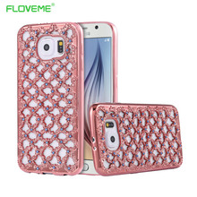 Galaxy S6 S7 Edge Plus Note 5 Luxury Plating Hollow Grid Diamond TPU Case Samsung A3 A5 A7 J2 J3 J5 J7 2015 2016 Cover - Fly Technology Co.,Ltd store