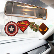 6 x Truck Car Hanging Perfumed Fragrance Air Freshener Papers For Hero Captain America Superman iron Air Freshener Car Perfume(China (Mainland))