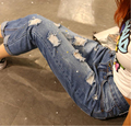 Navy blue woman denim full print xd Plus size clothing hole jeans for women loose Jeans