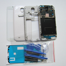 White/Black/Blue Full Housing Cover Repair Parts for Samsung Galaxy S4 S IV i9500 + Front Glass + Repair Tools + Home Button(China (Mainland))