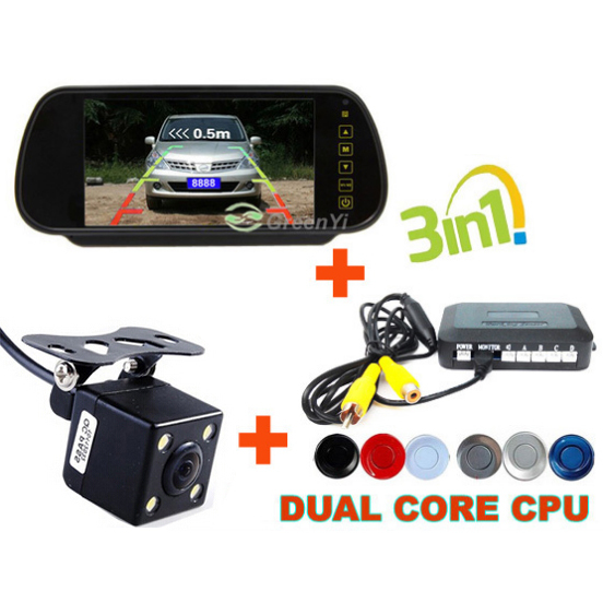 "7"" Car RearView Mirror Monitor with Parking Backup Reversing CCD Camera Connect Parking Sensor, Car Video Parking Camera Monitor(China (Mainland))"