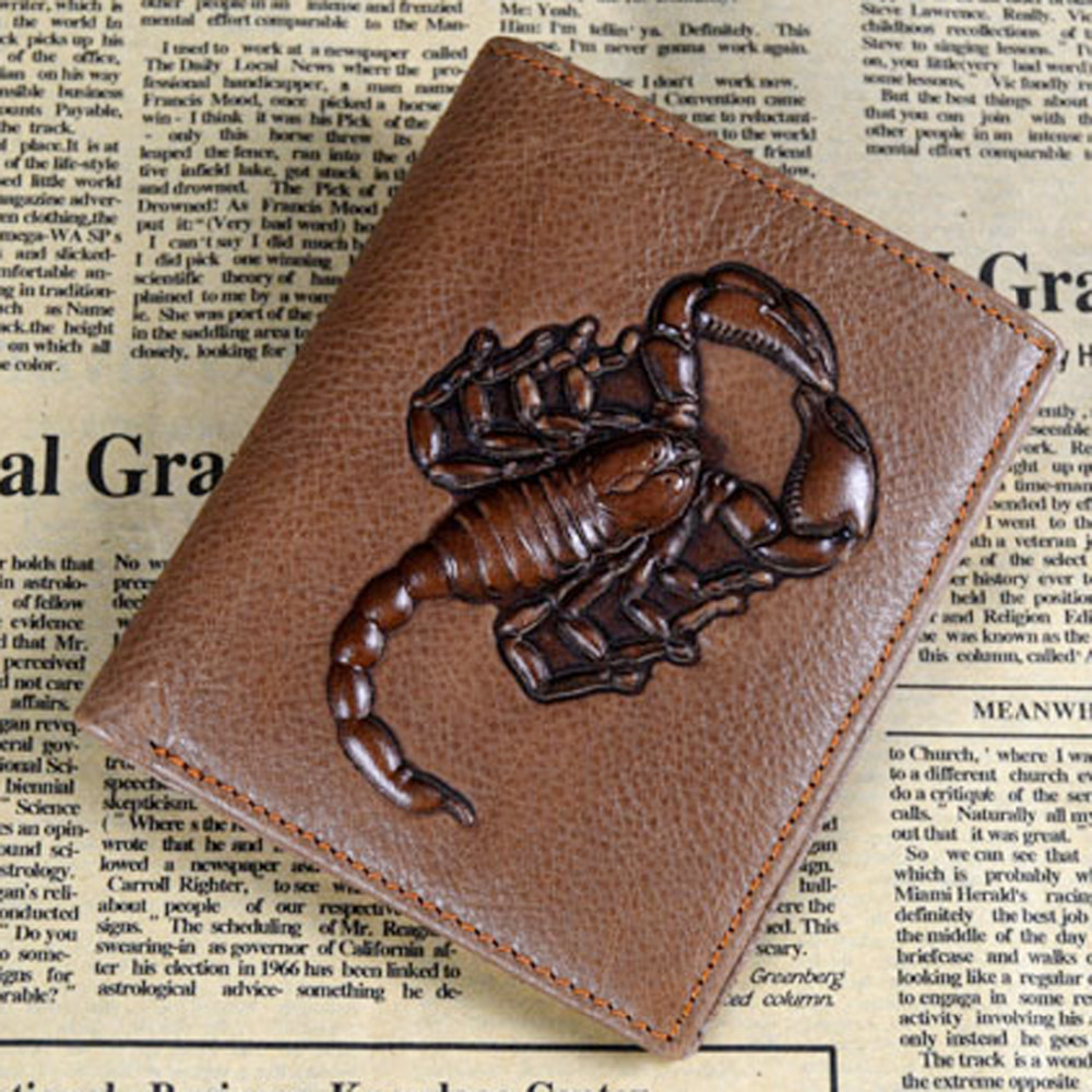 High Quality New Men First Layer Cowhide Genuine Leather Scorpion Money Bag Coin Purse Male Photo Card Holder Pocket Pack Wallet<br><br>Aliexpress