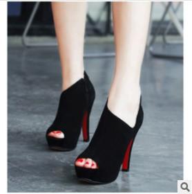 2014 Free Shipping Fashion Sexy Fish Mouth Women's Super High Heel Shoes Pump Platform Velvet 3641(China (Mainland))