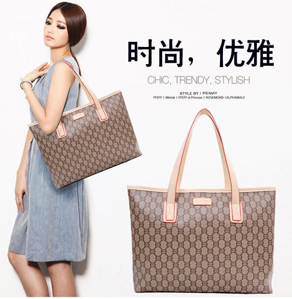 2015 new famous brands high quality classic vintage fashion large capacity handbag plaid print women shoulder bag portable totes(China (Mainland))