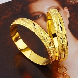 Low price Noble Handcarved 24k Yellow Gold Filled Lady's Bangle 60mm Openable Bracelet Women GF Jewelry 10mm Width(China (Mainland))