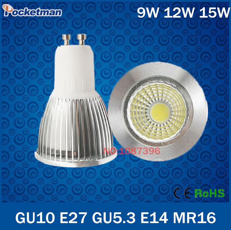 Wholesale Super Bright GU10 GU5.3 E27 E14 MR16 Dimmable Led COB Spotlight light lamp 9W 12W 15W AC 110v 220v 240v(China (Mainland))