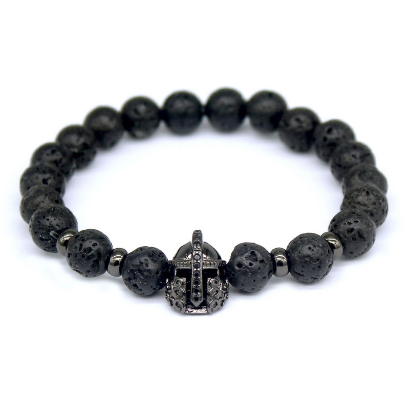 2016 Top Fashion Lava Charm Men's Bracelets Famous High Quality Knight Helmet Braiding Brand Bandage Macrame Beads Bracelet.(China (Mainland))