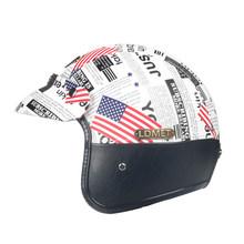 Кожа PU открытым лицом moto rcycle шлем Кафе racer Ретро jet harley винтаж DOT утвержден casco de moto(China)