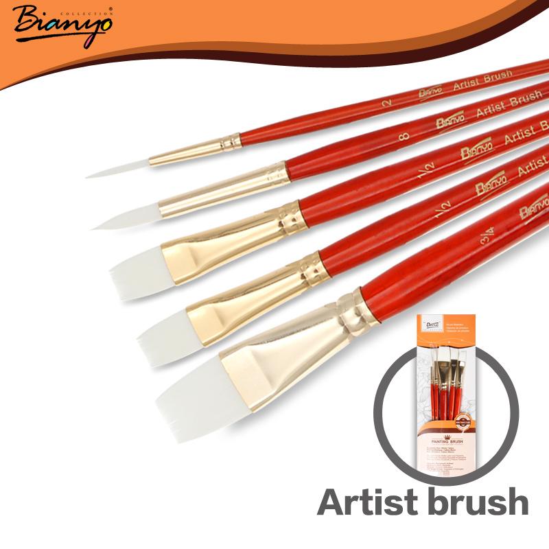 Bianyo 5Pcs High Quality Artist Bristle Hair Watercolor Paint Brush Set For Acrylic Gouache Drawing Painting Brush Art Supplies(China (Mainland))