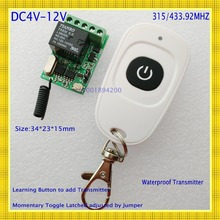 Buy DC4V 4.5V 5V 6V 7.4V 9V 12V Small Size Relay Remote Switch Computer ON OFF Button Wireless Switch Door Openner Button RF RX TX for $8.40 in AliExpress store