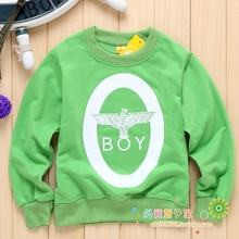 2014 new free shipping hot boys and girls fall and spring fashion round neck cotton long-sleeved T-shirt factory outlets(China (Mainland))