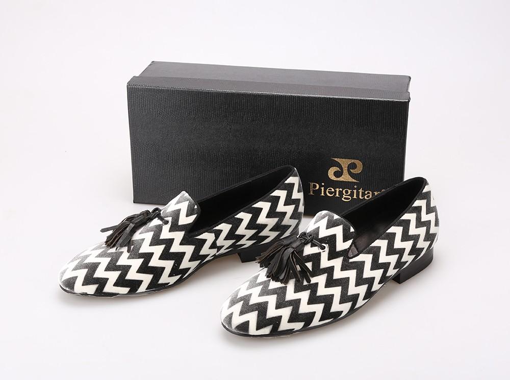 Piergitar смешанный цвет клетчатую шаблон с черной кожи кисточкой бархатные туфли ну вечеринку и свадебные мужские мокасины мужчины туфли