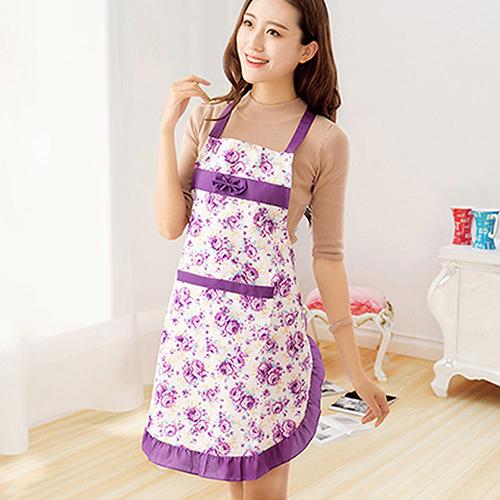 Women Lady Dress Restaurant Home Kitchen Cooking Cotton Apron Bib Floral Pattern 92WY(China (Mainland))
