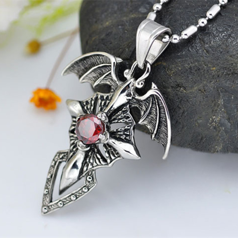Hot New Stylish Fashion Cross Man Crystal Dragon Wing*Titanium Steel Vintage Pendant Cross Pendant Necklace Jewelry Gift(China (Mainland))