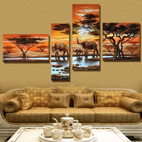 4 Panel Modern Elephant Canvas Painting Canvas Art African Landscape Picture Cuadros Decoracion For Living Room Unframed XY029(China (Mainland))