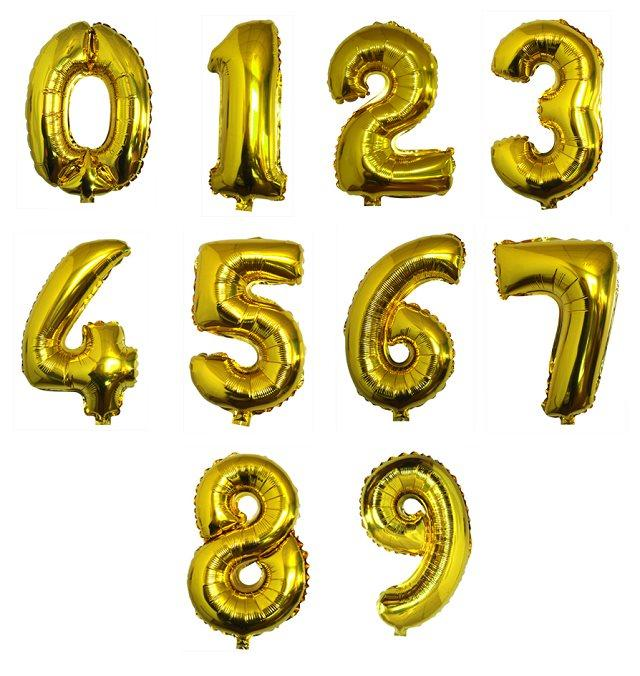 16 inch Gold number foil balloons birthday wedding inflatable baloons baby toys party decoration baloes anniversaire numbers(China (Mainland))