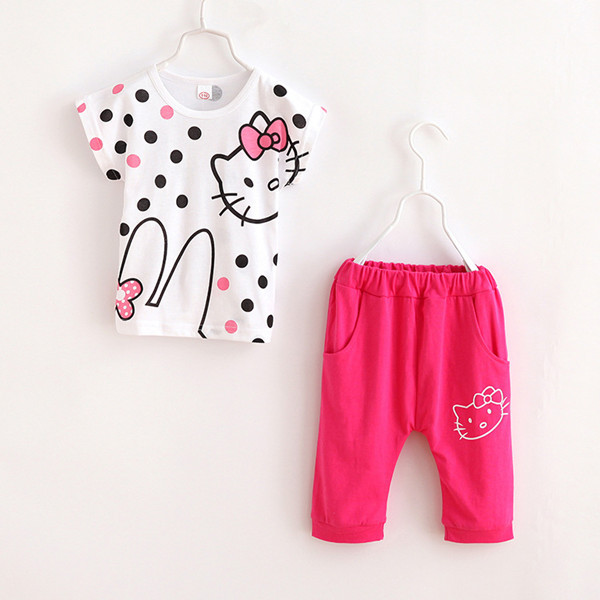 2015 Girls Sport Suit Set Brand Hello Kitty Short Sleeve 2-10y Kids Clothing Set for Children Sportswear Clothes Summer Style 29(China (Mainland))