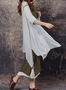 Original design Top quality Brief Style candy Color Loose Summer Cotton Linen cardigan Vintage summer style buttonlessBlosues(China (Mainland))