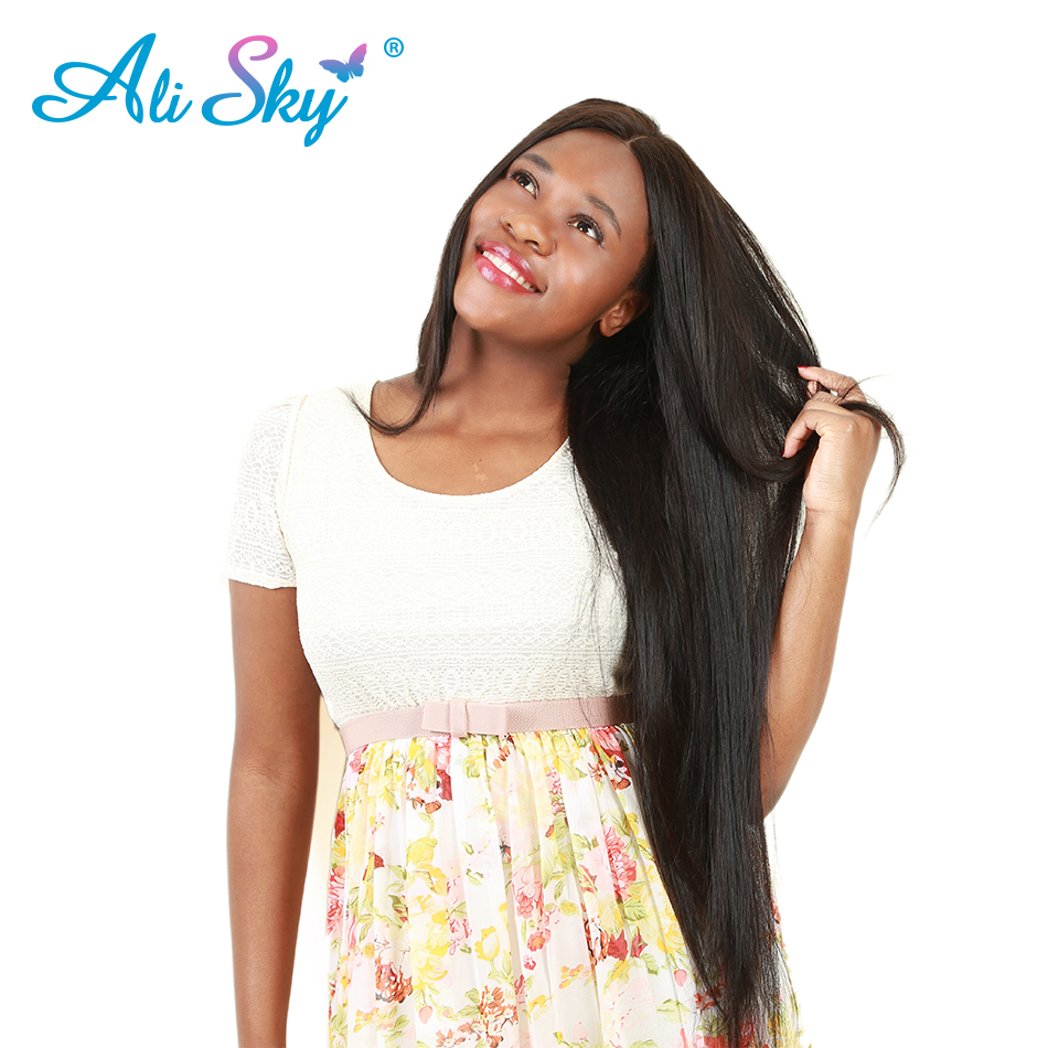 Ali Sky Hair Vendor Straight Brazilian Hair Weave Bundles Remy Human Hair 8″-26″ Double Weft Hair Extension Natural Black 1pc