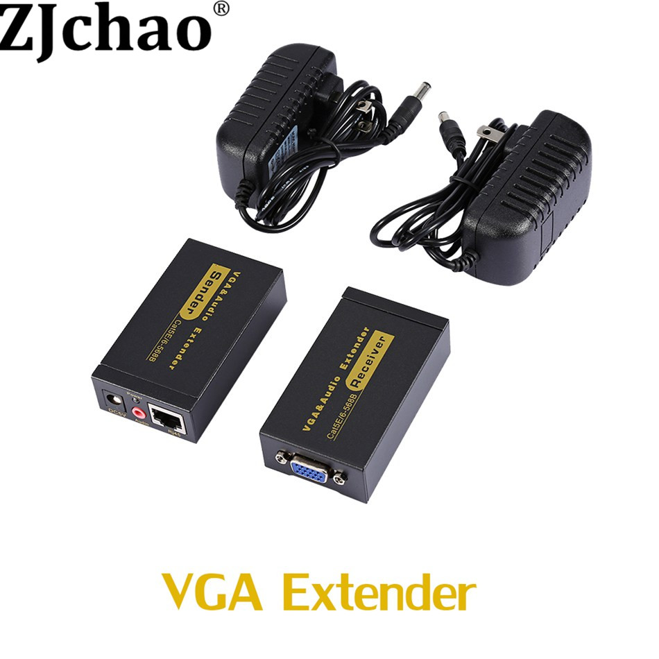 HD Female to Female VGA Extender To Lan CAT5e/6 RJ45 Ethernet Adapter VGA Video and Stereo Audio Extender Extension Converter(China (Mainland))
