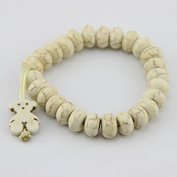 2015 cute bear bracelet,natural white stone of bear bracelet,women bear bracelet!