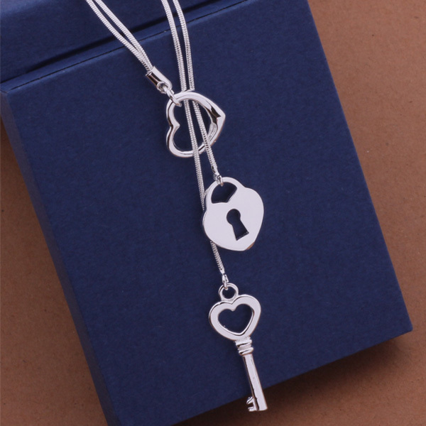 NK757 Sterling Silver Necklace Heart Lock & Key Pendant Necklace for Women Brand New Accessories Necklace Free Shipping(China (Mainland))