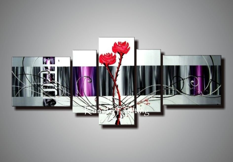 100 hand painted discount framed flower painting wall art canvas home decor unique gift 5 piece - Coupon home decorators decoration ...