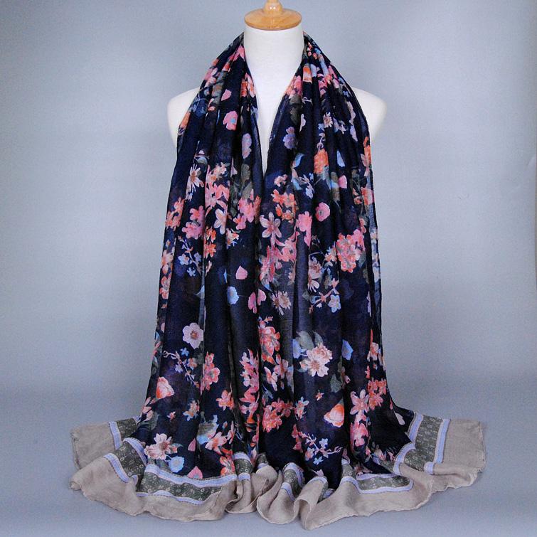 Wholesale Girl printe floral scarf viscose headband muffler popular wrap hijab winter headband muslim scarves/scarf f 10pcs/lot