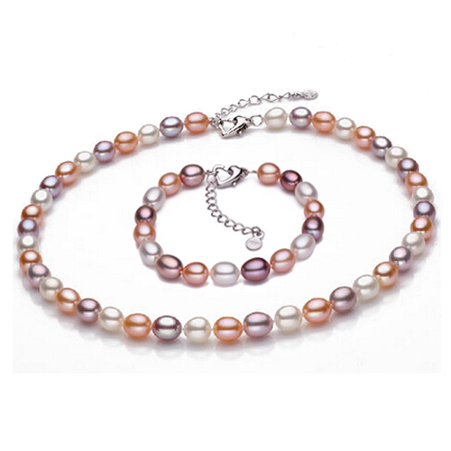 2016 NEW fashion pearl jewelry Grade AAAA 8-9mm multi-color jewelry set for women 925 silver necklace/bracelet hot selling(China (Mainland))